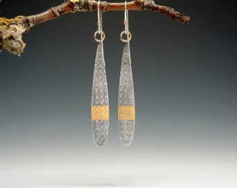 Long Sterling Silver Dangle Earrings, Textured, Keum Boo, Handmade, Oxidized
