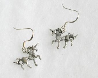 Small Silver Unicorn Charm Earrings