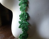 "Kelly Green Beaded Applique Trim 12""  for Lyrical Dance, Costume or Jewelry Design, Crafts TR 249kg"