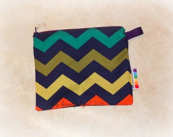 Jewel Chevron Zippered & Waterproof Mini Wetbag, 6x8 - Instock