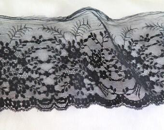 "Antique Black Chantilly Lace Trim 82"" x 5"" French Lace"