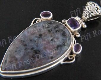 """3"""" Kiwi Jasper Amethyst 925 Sterling Silver Pendant"""