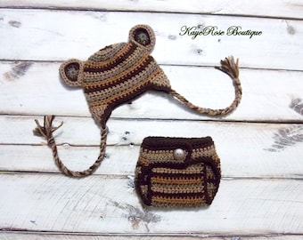 Newborn to Three Month Old Crochet Baby Bear Striped Ear flap Hat and Diaper Cover Set Brown