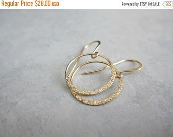 ON SALE Textured Gold Hoops