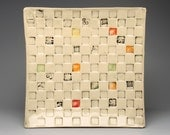 "Handmade Pottery ""Square on Square"" Serving Platter-White stoneware clay squares impressed with textures-Colors painted in squares-Food Safe"