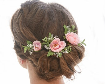 Set of Pink Flower Bridal Hair Pin, Hair Accessories for Bridesmaids and Brides Flower Hair Pins Wedding Hair Flower Girl Hair Pins in Pink