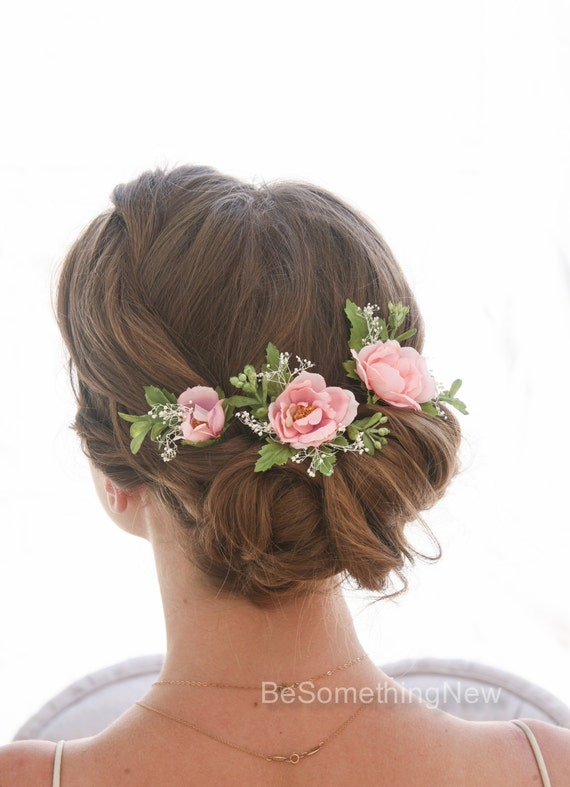 Wedding Hair Flowers Pink : Set of pink flower bridal hair pin accessories for