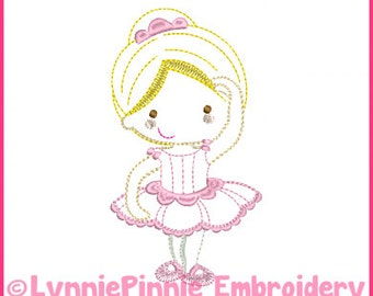 Ballerina Princess Cutie Colorwork Sketch Embroidery Design 4x4 5x7 6x10 Machine Embroidery Design