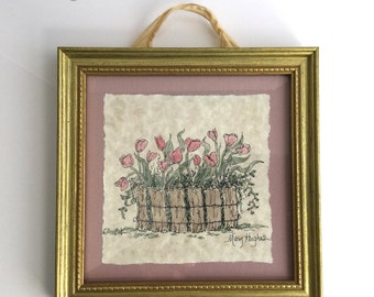 Original Watercolor Painting of Tulips in a Basket by Mary Hughes