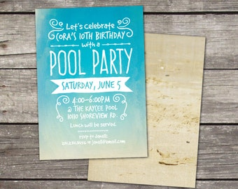 Beach or Pool Party themed invitation with coordinating back