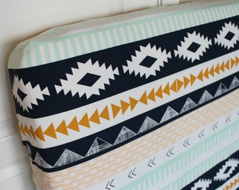 Fitted Crib Sheet or Changing Pad Cover - Arid Horizon Modern Aztec Tribal baby bedding in navy blue, mint and mustard