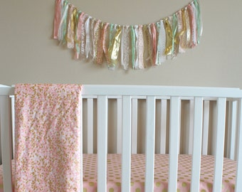 Fabric Garland Ribbon Banner - Baby Girl Nursery Decor - Photo Prop - Shower Decoration - Wedding Decor - Custom Colors Gold Pink Mint Cream