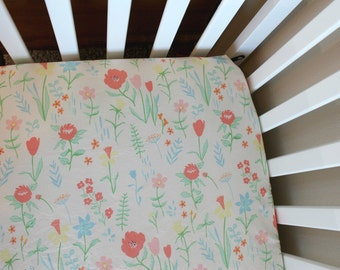 Fitted Crib Sheet or Changing Pad Cover - Floral on White - Baby Girl Crib Sheet - Pink Coral