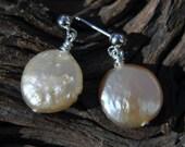 Peach Coin Pearl Earrings
