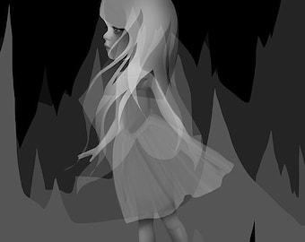 "SUMMER SALES EVENT Fine Art Print - ""Invisible"" - 8.5x11 or 8x10 Premium Giclee Print of Original Artwork - Little Girl -  Lowbrow Artwork"