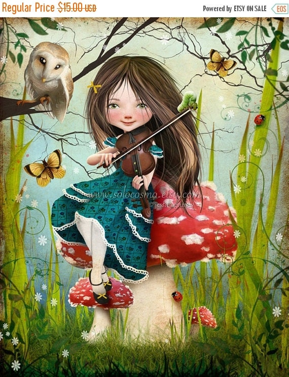 "SUMMER SALES EVENT Fantasy Fairy Tale Girl Playing Violin with Owl ""Uma"" Fine Art 8.5x11 or 8x10 - Digital Collage Painting Art Wonderland"