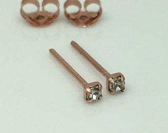 Diamond cz cartilage stud earrings, rose gold cz diamond stud earrings, cartilage piercings, men's earrings, second lobe stud, 421J