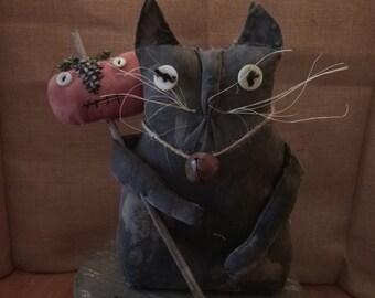 PRIMITIVE /FOLK CATwith Pumpkin