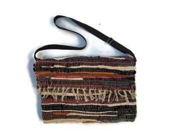 SALE Boho Messenger Bag in Brown Tones. Crossbody Bag. Boho Chic Style Kilim Bag. Over The Shoulder Bag. Gift For Her. Hippie Bag. Kilim Bag