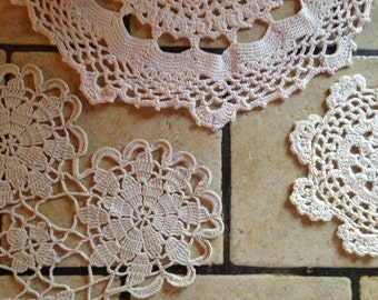 Three Small Off White Doilies