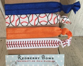 Hair Ties BASEBALL ORANGE and BLUE Set of four-Free Shipping with another item