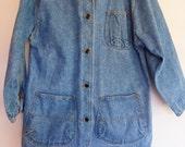1980s Acid Wash Denim Jacket Barn Coat Oversized M Contrast Collar PREPPY!