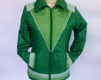 1970s Quilted Nylon Coat SZ S Puffy Green Ombre Rainbow Ski Jacket