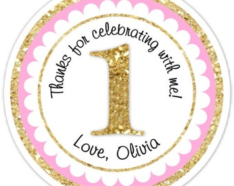 Custom 1st Birthday Labels, 1st Birthday Stickers -  Pink and Gold Glitter Print, First Birthday, Personalized for you