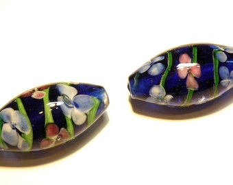 DESTASH: One (1) Jumbo Tapered Barrel Bead with Floral Design -- Cobalt Blue, Green. and Raspberry Pink -- Lot UU