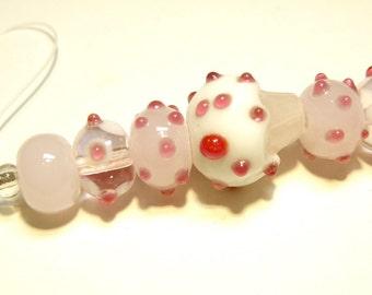 DESTASH -- Seven (7) Coordinating Lampwork Beads: Bubble Gum Pink, Dark Raspberry and White Cupcake Set - Lot UU