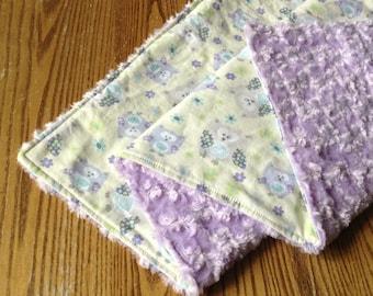 "Beautiful Baby Girl Blanket,  Flurr 28""x36"", Owls, Purple"