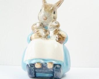 Mrs. Rabbit and Bunnies Figurine, Beatrix Potter Collectible, F. Warne & Co. Beswick England, Nursery Decor, Shower Gift, Porcelain Figurine