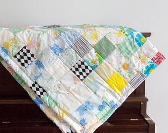 Blanket - Handmade Quilt - Twin Quilt - Patchwork Quilt -  Floral Print Quilt - Lap Quilt