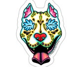 Day of the Dead Slobbering Pit Bull Sticker - Sugar Skull Pitbull Dog Decal
