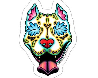 Slobbering Pit Bull Sticker - Day of the Dead Sugar Skull Pitbull - Clear Vinyl Dog Decal