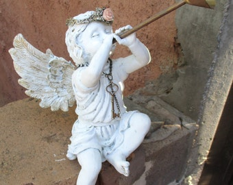 Vintage Sitting Shelf Sitter Cherub Angel Victorian Shabby Chic Decor Painted White Distressed Putto with Crown Trumpet