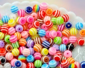 8mm Striped Resin Beads, mixed color, small size beads - 100 pc set