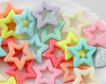 Pastel Star Beads - 27mm Beautiful Bright Big Pastel Outline Star Chunky Acrylic or Resin Beads - 25 pcs set