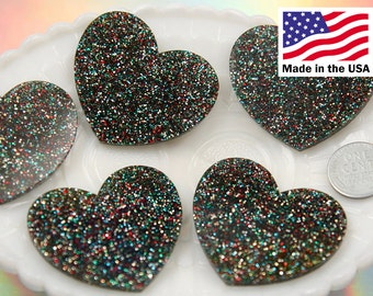 Heart Cabochons - 45mm Rainbow Multi Glitter Heart Acrylic or Resin Cabochons - 4 pc set