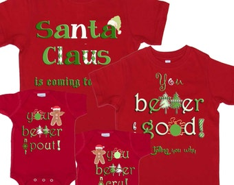 Family Christmas Shirts Mom Dad Kids combo Christmas Tee Shirts 1st Christmas Shirts