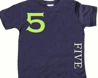 5th Birthday T shirt Boys Fifth Birthday Shirt by Mumsy Goose number Five Shirts Any Age Birthday Shirt