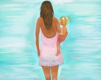 """Mother Art Motherhood Art Mother Daughter Art Print Beach Art Wall Art  Mothers Day  Painting """"Play Day With Mommy"""" Leslie Allen Fine Art"""