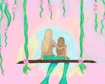 """Mermaid Art Mermaids Mother Daughter Sisters Mermaid Decor Mermaid Painting  Mermaid Print """"So Nice Being Together"""" Leslie Allen Fine Art"""