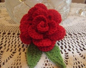 Gorgeous Crochet Big Red Rose Brooch Pin Applique Embellishment Decoration