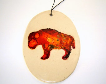 Buffalo Ceramic Ornament Painted with Alcohol Ink Red Yellow Home Décor