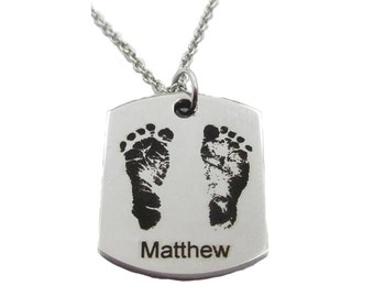 Your Baby's Footprints Thick Tag Pendant Necklace, stainless steel