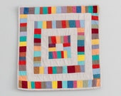Baby Blankie, Lovey, Security Blanket - Modern Patchwork Colorful Improvisational Design