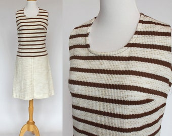 70's  Sleeveless Dress with Drop Waist  / Pleated Skirt / Medium to Large