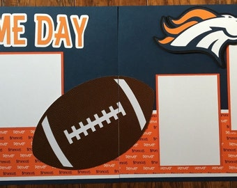 NFL Denver Broncos 2 page 12x12 premade scrapbook layout
