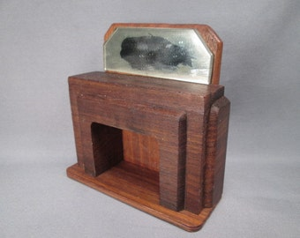 """Vintage Wooden Dollhouse Furniture - Nancy Forbes Fireplace Mantle - 3/4"""" Scale - 1940s"""